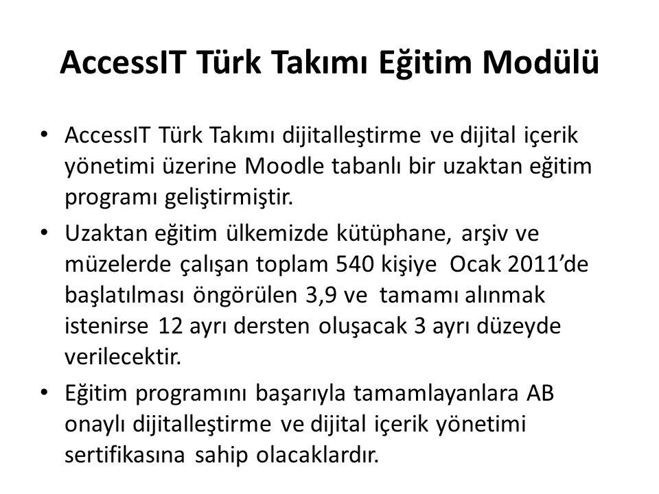 AccessIT Türk Takımı Eğitim Modülü AccessIT Türk Takımı dijitalleştirme ve dijital içerik yönetimi üzerine Moodle tabanlı bir uzaktan eğitim programı