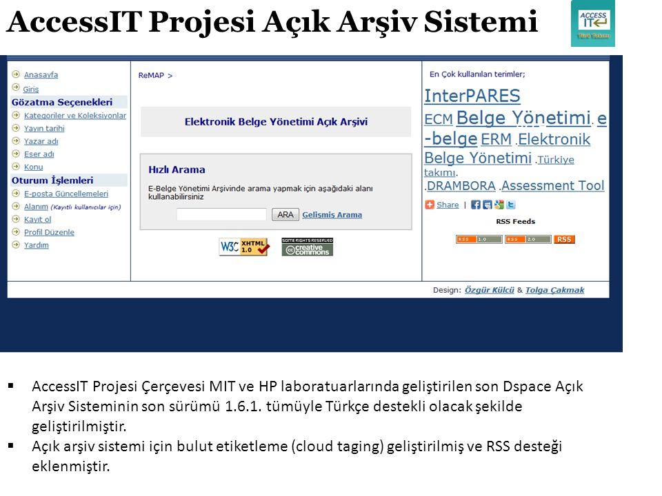 Acce AccessIT Projesi Açık Arşiv Sistemi  AccessIT Projesi Çerçevesi MIT ve HP laboratuarlarında geliştirilen son Dspace Açık Arşiv Sisteminin son sü
