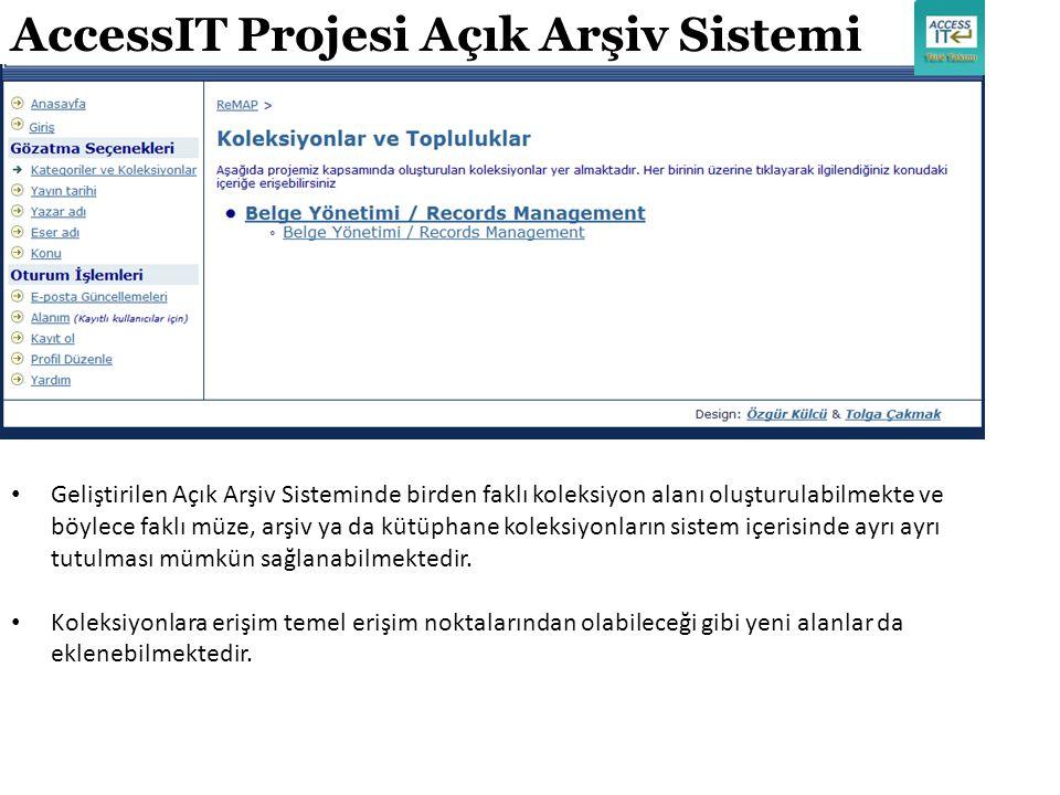 AccessIT Projesi Açık Arşiv Sistemi Geliştirilen Açık Arşiv Sisteminde birden faklı koleksiyon alanı oluşturulabilmekte ve böylece faklı müze, arşiv y