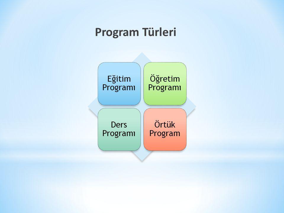 Program Türleri Eğitim Programı Öğretim Programı Ders Programı Örtük Program