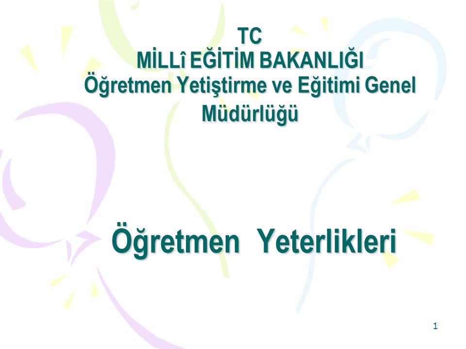 1 TC MİLLî EĞİTİM BAKANLIĞI Öğretmen Yetiştirme ve Eğitimi Genel Müdürlüğü Öğretmen Yeterlikleri