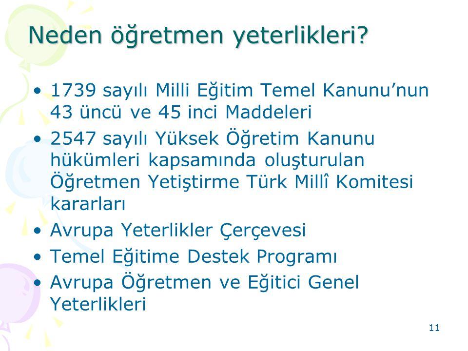 11 1739 sayılı Milli Eğitim Temel Kanunu'nun 43 üncü ve 45 inci Maddeleri 2547 sayılı Yüksek Öğretim Kanunu hükümleri kapsamında oluşturulan Öğretmen Yetiştirme Türk Millî Komitesi kararları Avrupa Yeterlikler Çerçevesi Temel Eğitime Destek Programı Avrupa Öğretmen ve Eğitici Genel Yeterlikleri Neden öğretmen yeterlikleri?