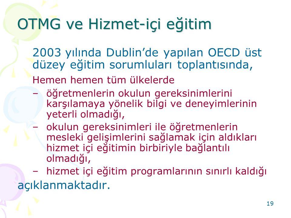 19 2003 yılında Dublin'de yapılan OECD üst düzey eğitim sorumluları toplantısında, Hemen hemen tüm ülkelerde –öğretmenlerin okulun gereksinimlerini karşılamaya yönelik bilgi ve deneyimlerinin yeterli olmadığı, –okulun gereksinimleri ile öğretmenlerin mesleki gelişimlerini sağlamak için aldıkları hizmet içi eğitimin birbiriyle bağlantılı olmadığı, –hizmet içi eğitim programlarının sınırlı kaldığı açıklanmaktadır.