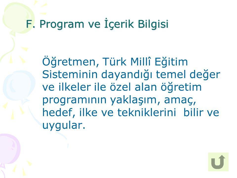 30 Öğretmen, Türk Millî Eğitim Sisteminin dayandığı temel değer ve ilkeler ile özel alan öğretim programının yaklaşım, amaç, hedef, ilke ve tekniklerini bilir ve uygular.