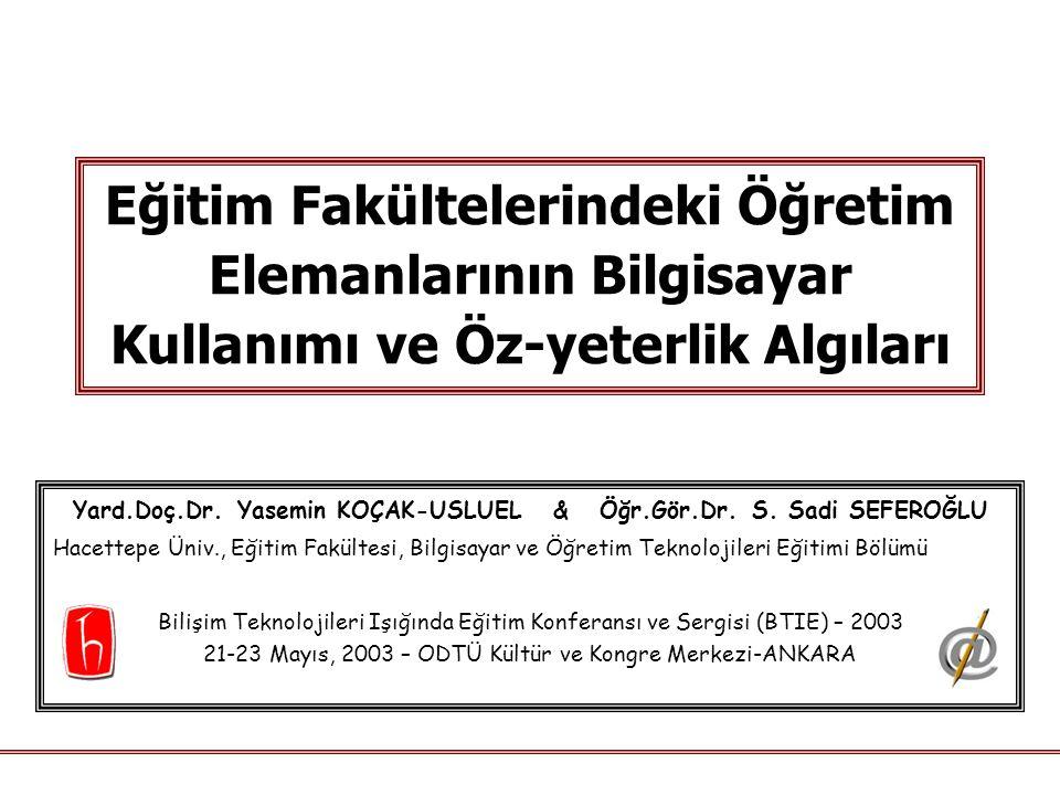Dr.USLUEL & Dr. SEFEROĞLU / Hacettepe Üniversitesi - BTIE 2003 2 Öz-yeterlik Nedir.