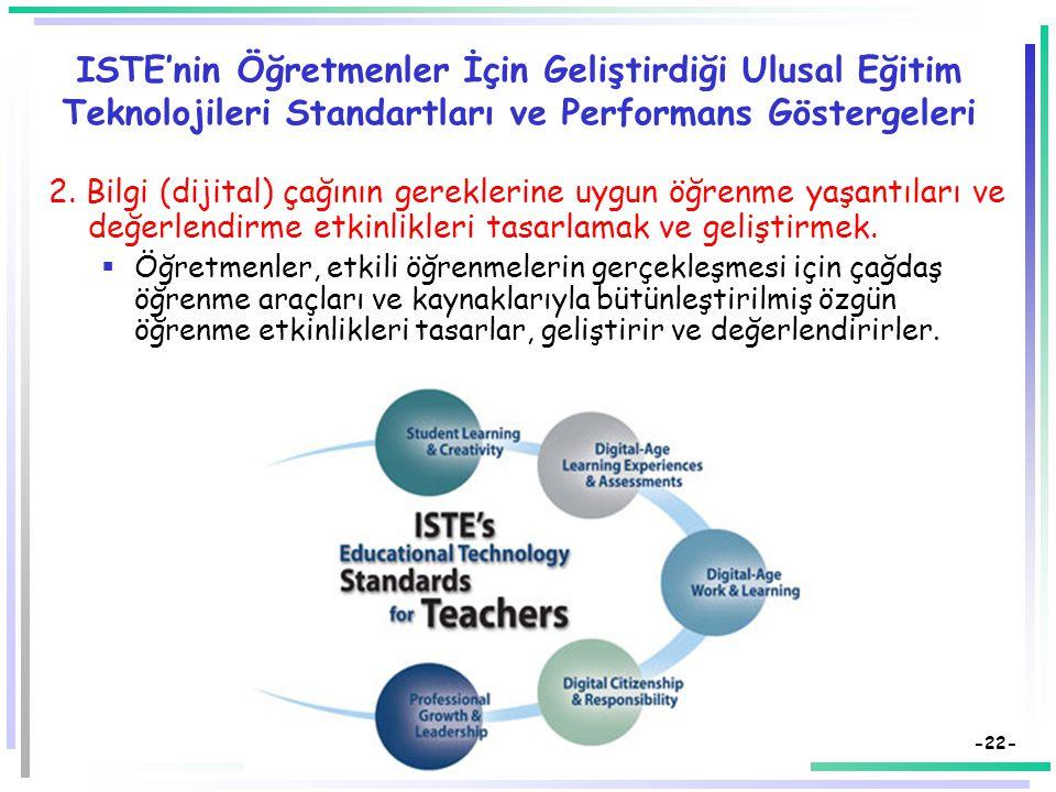 -21- ISTE'nin Öğretmenler İçin Geliştirdiği Ulusal Eğitim Teknolojileri Standartları ve Performans Göstergeleri 1. Öğrencilerin öğrenmelerini kolaylaş