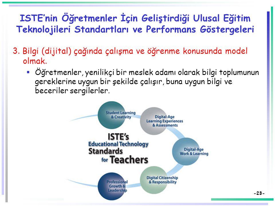 -22- ISTE'nin Öğretmenler İçin Geliştirdiği Ulusal Eğitim Teknolojileri Standartları ve Performans Göstergeleri 2. Bilgi (dijital) çağının gereklerine