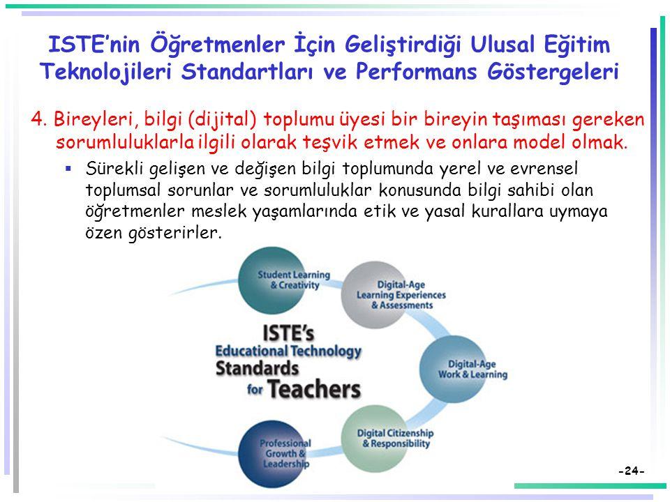 -23- ISTE'nin Öğretmenler İçin Geliştirdiği Ulusal Eğitim Teknolojileri Standartları ve Performans Göstergeleri 3. Bilgi (dijital) çağında çalışma ve