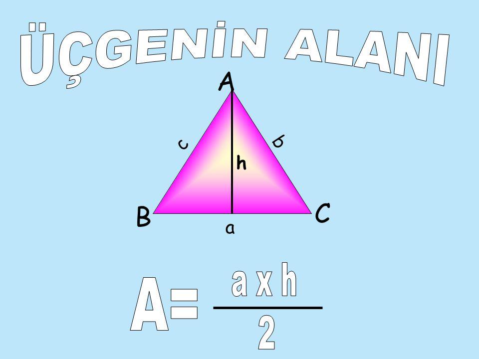 ÖRNEK AŞAĞIDAKİ ÜÇGENİN ÇEVRESİNİ HESAPLAYALIM: A B C c=2 cm b= 3cm a=4 cm ÇÖZÜM Ç=a+b+c olduğuna göre Ç=4+3+2=9cm dir