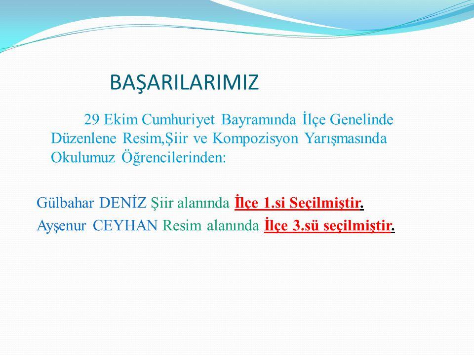 BAŞARILARIMIZ 29 Ekim Cumhuriyet Bayramında İlçe Genelinde Düzenlene Resim,Şiir ve Kompozisyon Yarışmasında Okulumuz Öğrencilerinden: Gülbahar DENİZ Ş