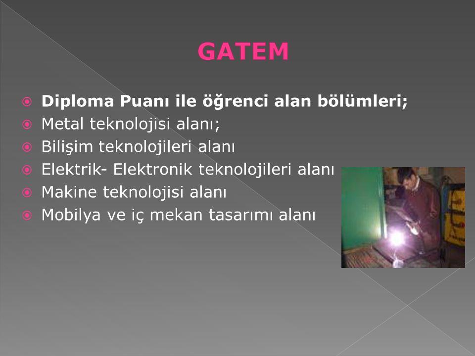  Diploma Puanı ile öğrenci alan bölümleri;  Metal teknolojisi alanı;  Bilişim teknolojileri alanı  Elektrik- Elektronik teknolojileri alanı  Maki