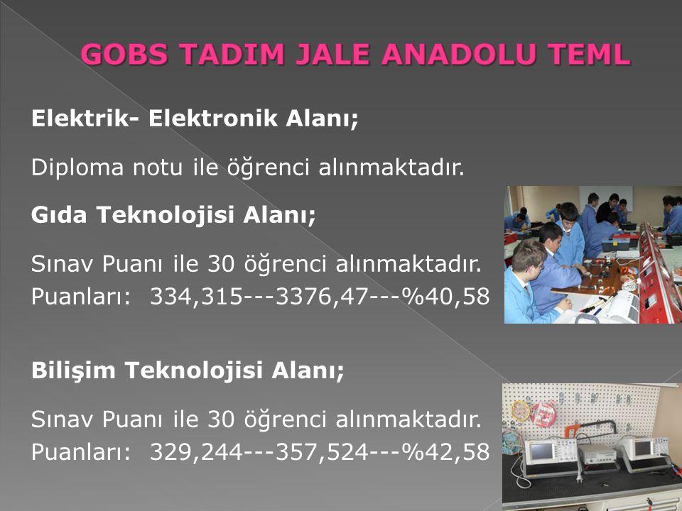 Elektrik- Elektronik Alanı; Diploma notu ile öğrenci alınmaktadır. Gıda Teknolojisi Alanı; Sınav Puanı ile 30 öğrenci alınmaktadır. Puanları: 334,315-