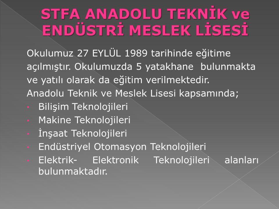 Okulumuz 27 EYLÜL 1989 tarihinde eğitime açılmıştır. Okulumuzda 5 yatakhane bulunmakta ve yatılı olarak da eğitim verilmektedir. Anadolu Teknik ve Mes