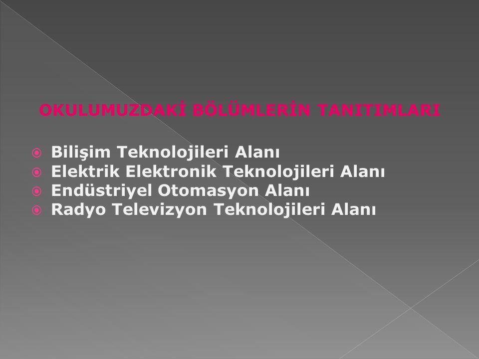 OKULUMUZDAKİ BÖLÜMLERİN TANITIMLARI  Bilişim Teknolojileri Alanı  Elektrik Elektronik Teknolojileri Alanı  Endüstriyel Otomasyon Alanı  Radyo Tele