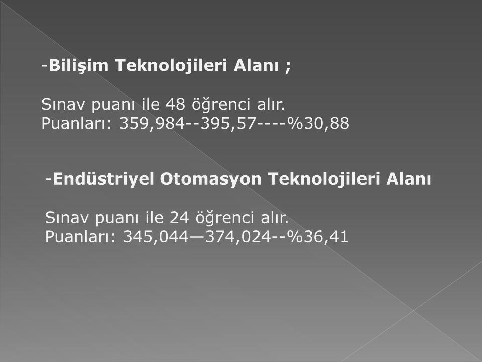 - Elektrik – Elektronik Teknolojileri Alanı Sınav Puanı ile 48 kişi alır.
