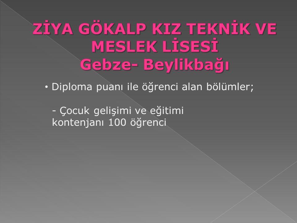 Diploma puanı ile öğrenci alan bölümler; - Çocuk gelişimi ve eğitimi kontenjanı 100 öğrenci