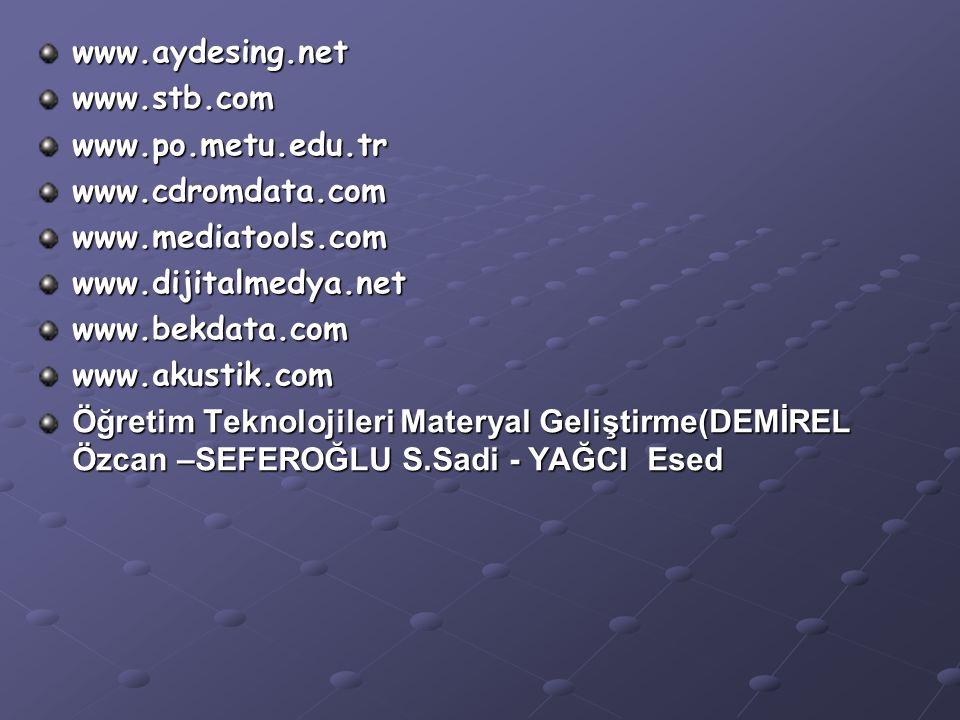 www.aydesing.netwww.stb.comwww.po.metu.edu.trwww.cdromdata.comwww.mediatools.comwww.dijitalmedya.netwww.bekdata.comwww.akustik.com Öğretim Teknolojileri Materyal Geliştirme(DEMİREL Özcan –SEFEROĞLU S.Sadi - YAĞCI Esed