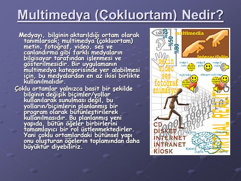 Multimedya (Çokluortam) Nedir? Medyayı, bilginin aktarıldığı ortam olarak tanımlarsak; multimedya (çokluortam) metin, fotoğraf, video, ses ve canlandı