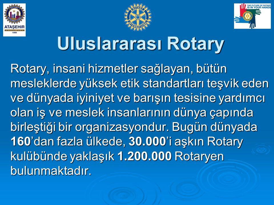 Uluslararası Rotary Rotary, insani hizmetler sağlayan, bütün mesleklerde yüksek etik standartları teşvik eden ve dünyada iyiniyet ve barışın tesisine yardımcı olan iş ve meslek insanlarının dünya çapında birleştiği bir organizasyondur.