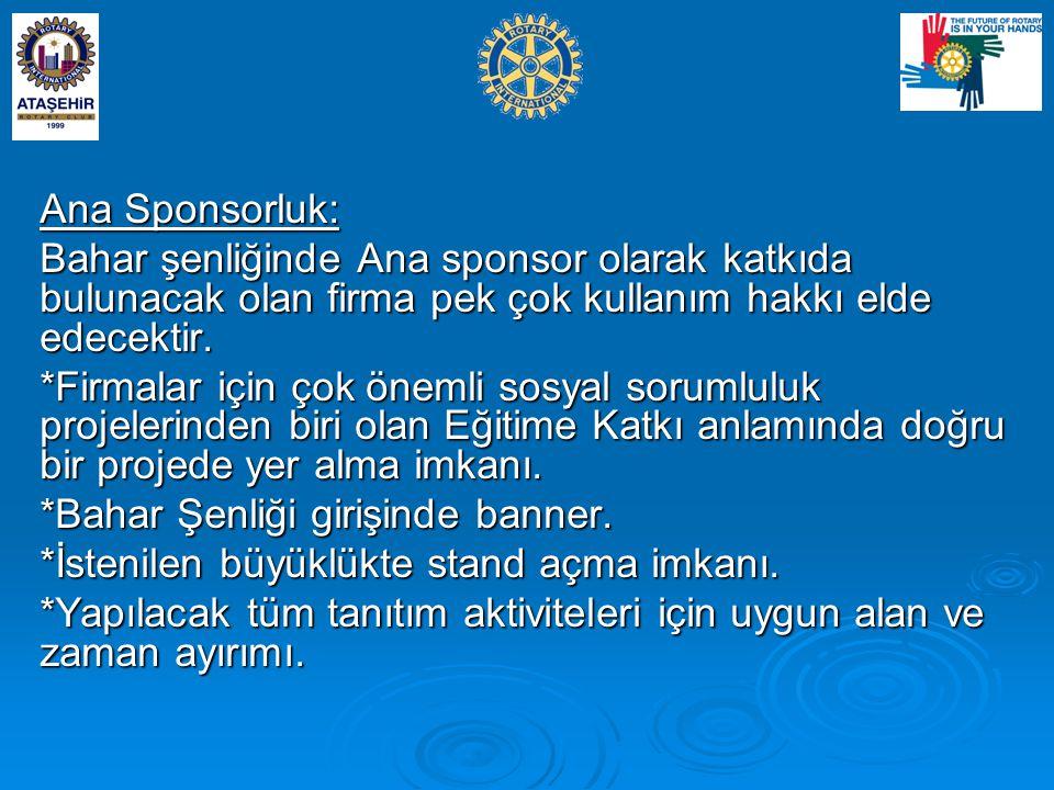 Ana Sponsorluk: Bahar şenliğinde Ana sponsor olarak katkıda bulunacak olan firma pek çok kullanım hakkı elde edecektir.