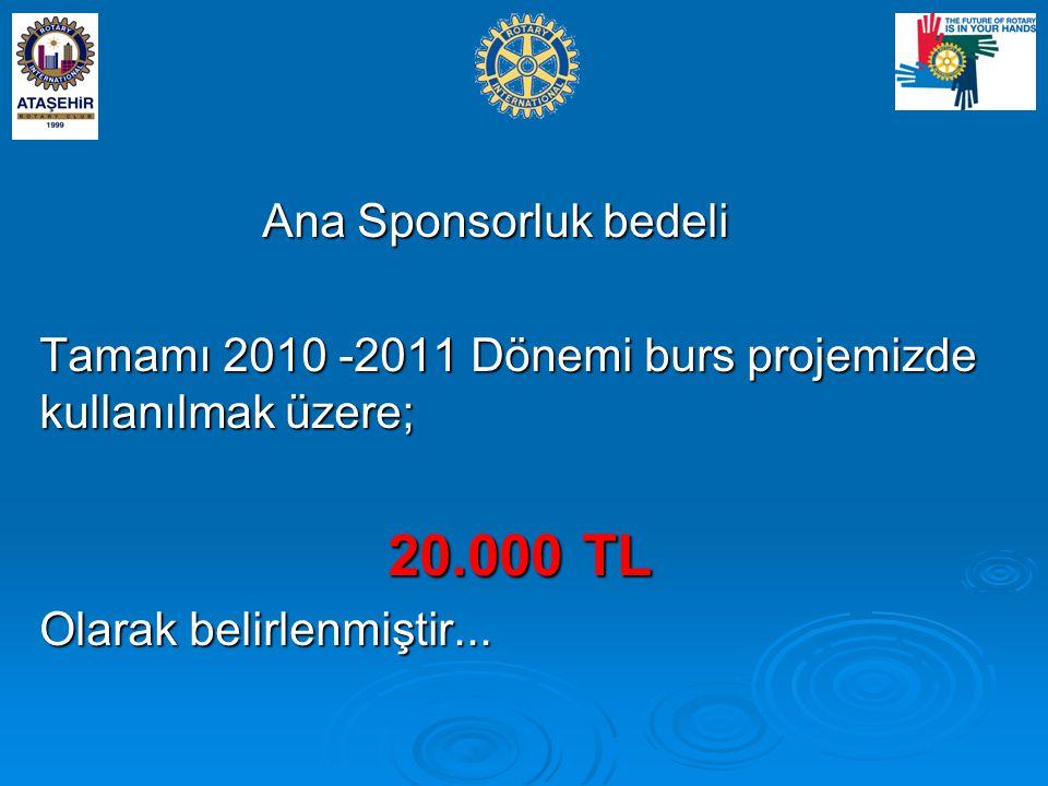 Ana Sponsorluk bedeli Ana Sponsorluk bedeli Tamamı 2010 -2011 Dönemi burs projemizde kullanılmak üzere; 20.000 TL 20.000 TL Olarak belirlenmiştir...