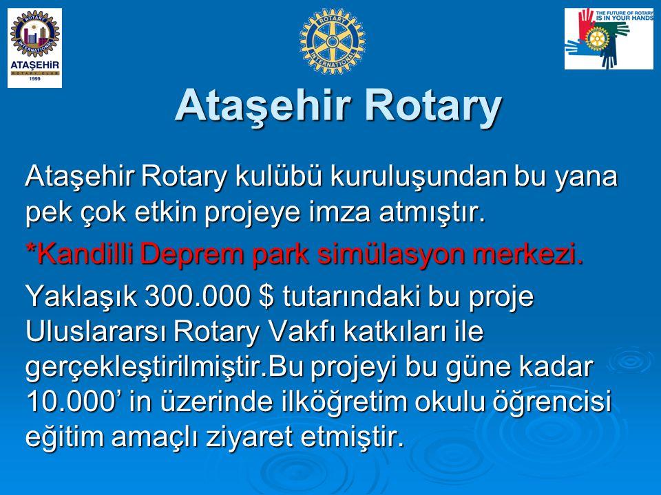 Ataşehir Rotary Ataşehir Rotary kulübü kuruluşundan bu yana pek çok etkin projeye imza atmıştır.