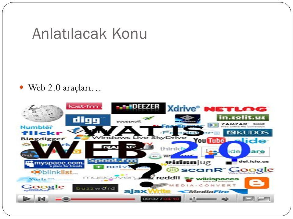 Anlatılacak Konu Web 2.0 araçları…
