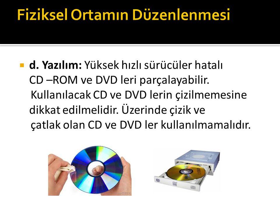  d. Yazılım: Yüksek hızlı sürücüler hatalı CD –ROM ve DVD leri parçalayabilir.