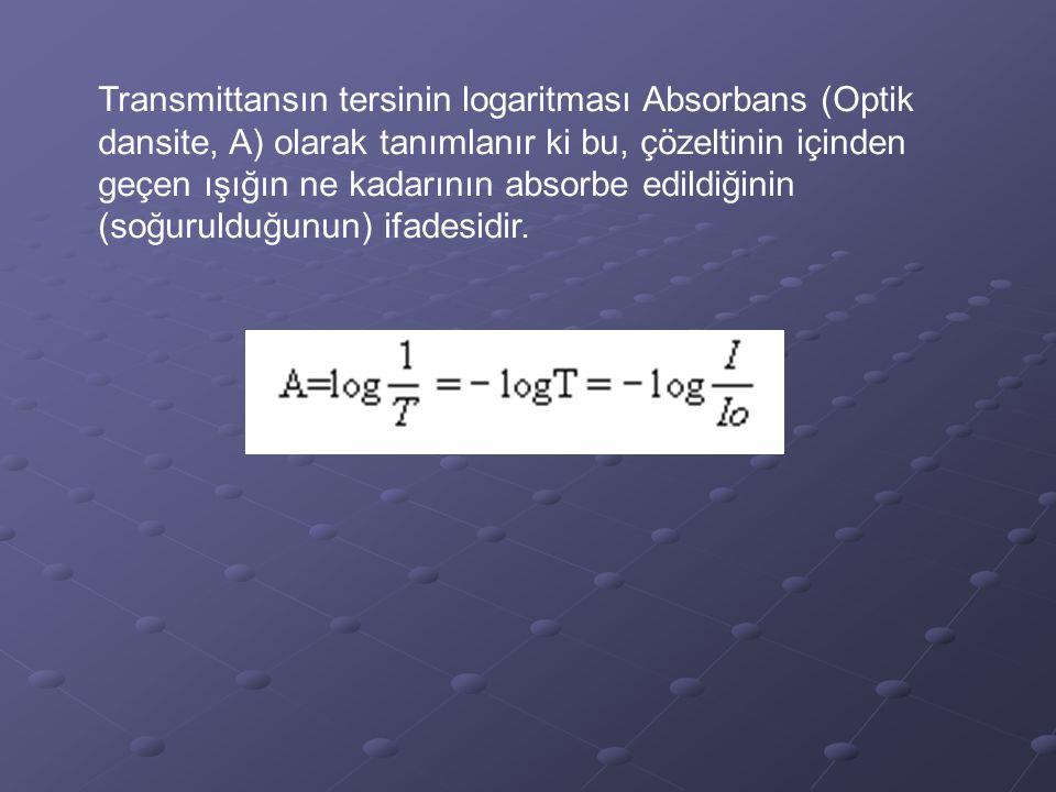 Transmittansın tersinin logaritması Absorbans (Optik dansite, A) olarak tanımlanır ki bu, çözeltinin içinden geçen ışığın ne kadarının absorbe edildiğ