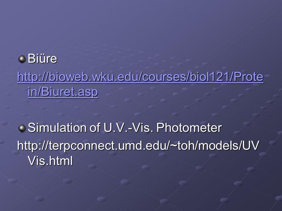 Biüre http://bioweb.wku.edu/courses/biol121/Prote in/Biuret.asp http://bioweb.wku.edu/courses/biol121/Prote in/Biuret.asp Simulation of U.V.-Vis. Phot