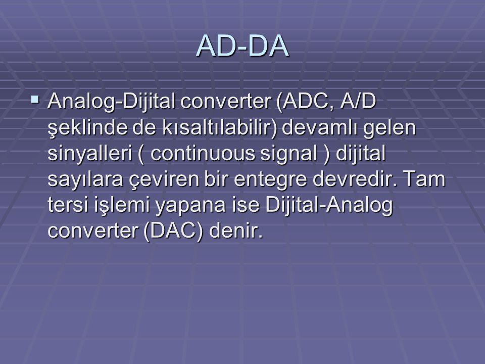 AD-DA  Analog-Dijital converter (ADC, A/D şeklinde de kısaltılabilir) devamlı gelen sinyalleri ( continuous signal ) dijital sayılara çeviren bir entegre devredir.