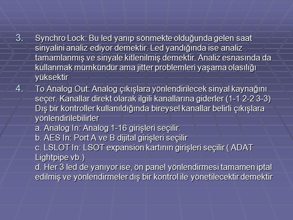 3. Synchro Lock: Bu led yanıp sönmekte olduğunda gelen saat sinyalini analiz ediyor demektir. Led yandığında ise analiz tamamlanmış ve sinyale kitleni