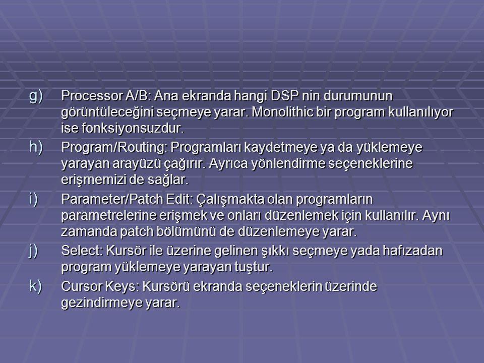 g) Processor A/B: Ana ekranda hangi DSP nin durumunun görüntüleceğini seçmeye yarar. Monolithic bir program kullanılıyor ise fonksiyonsuzdur. h) Progr