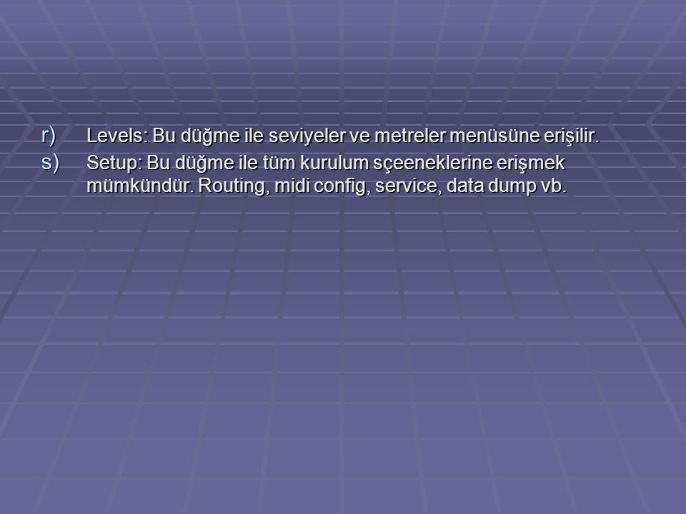 r) Levels: Bu düğme ile seviyeler ve metreler menüsüne erişilir.