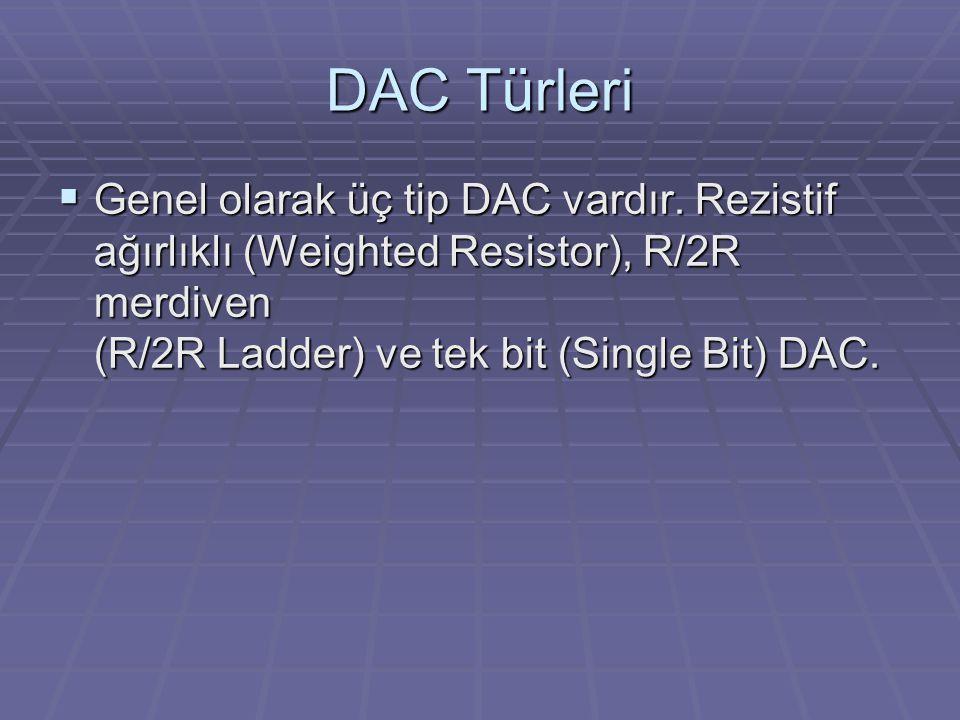 DAC Türleri  Genel olarak üç tip DAC vardır. Rezistif ağırlıklı (Weighted Resistor), R/2R merdiven (R/2R Ladder) ve tek bit (Single Bit) DAC.