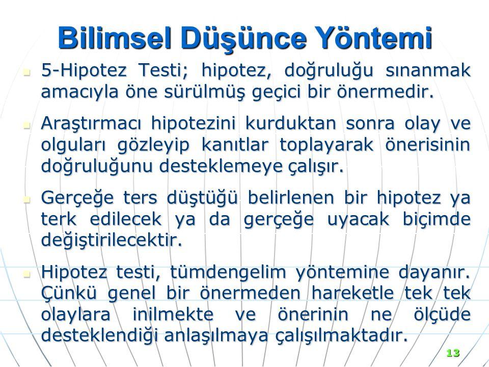 13 Bilimsel Düşünce Yöntemi 5-Hipotez Testi; hipotez, doğruluğu sınanmak amacıyla öne sürülmüş geçici bir önermedir.