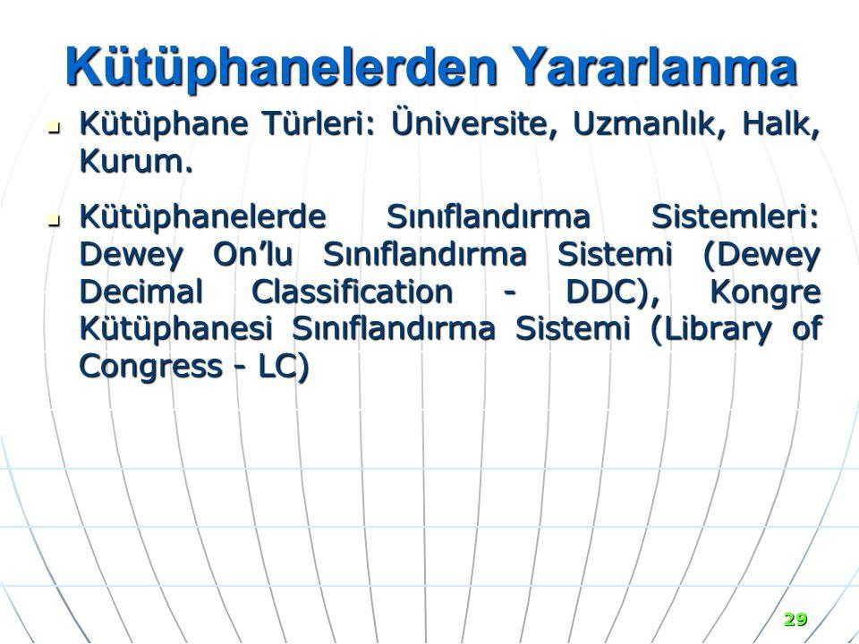 29 Kütüphanelerden Yararlanma Kütüphane Türleri: Üniversite, Uzmanlık, Halk, Kurum.