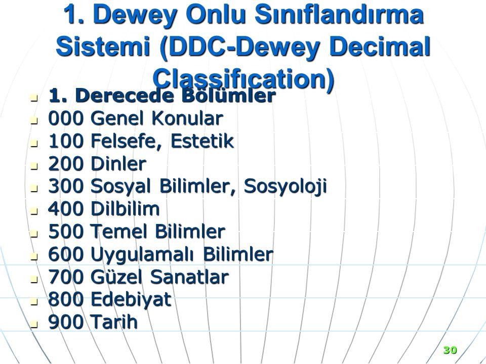 30 1.Dewey Onlu Sınıflandırma Sistemi (DDC-Dewey Decimal Classifıcation) 1.