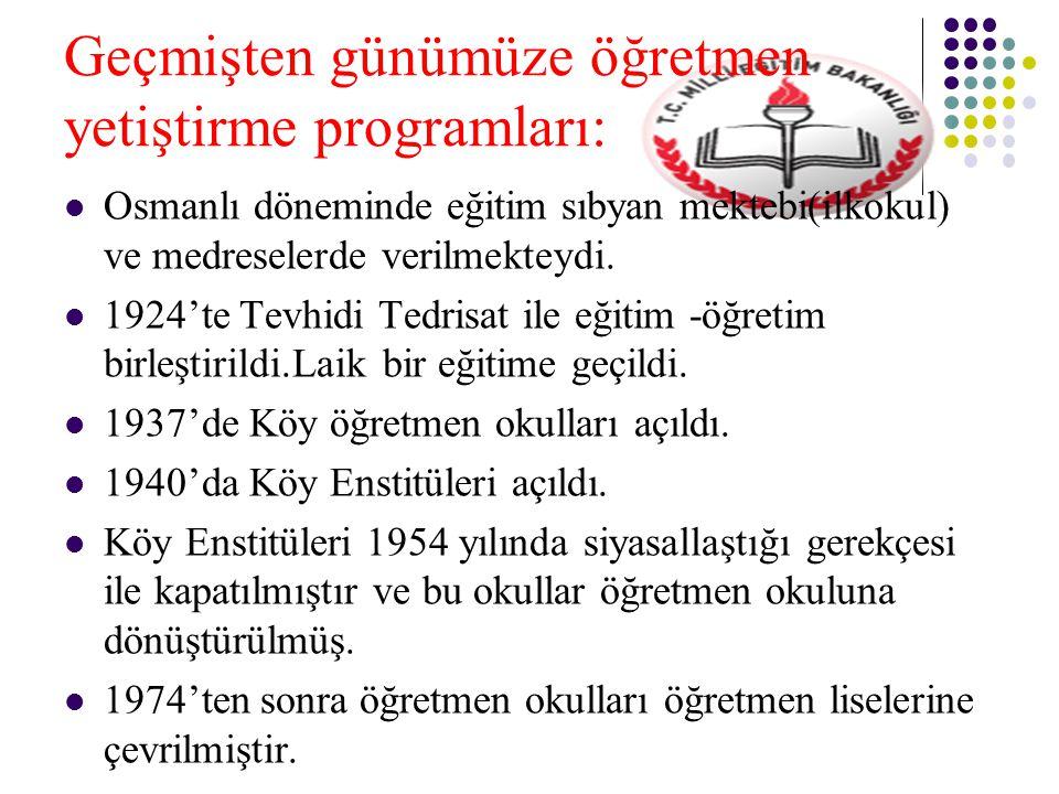 Geçmişten günümüze öğretmen yetiştirme programları: Osmanlı döneminde eğitim sıbyan mektebi(ilkokul) ve medreselerde verilmekteydi.