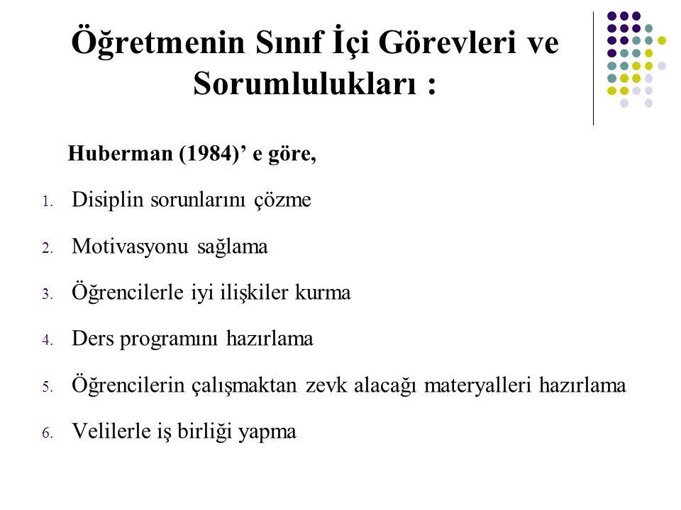 Öğretmenin Sınıf İçi Görevleri ve Sorumlulukları : Huberman (1984)' e göre, 1.