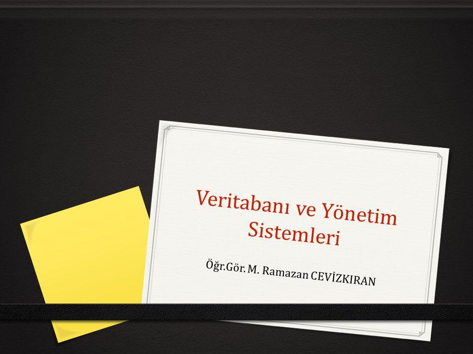 Veritabanı yönetim sistemi nedir. Veri Tabanı Uygulaması: 1.