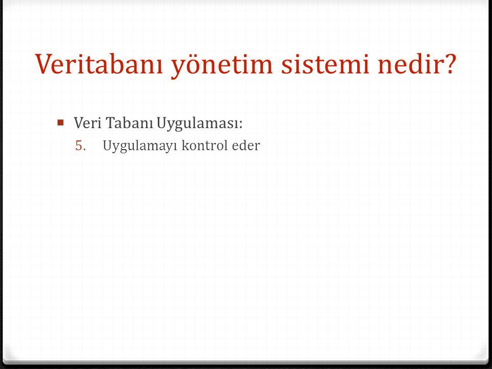 Veritabanı yönetim sistemi nedir?  Veri Tabanı Uygulaması: 5. Uygulamayı kontrol eder