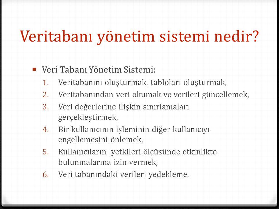 Veritabanı yönetim sistemi nedir?  Veri Tabanı Yönetim Sistemi: 1. Veritabanını oluşturmak, tabloları oluşturmak, 2. Veritabanından veri okumak ve ve