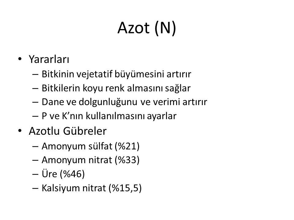 Azot (N) Yararları – Bitkinin vejetatif büyümesini artırır – Bitkilerin koyu renk almasını sağlar – Dane ve dolgunluğunu ve verimi artırır – P ve K'nı