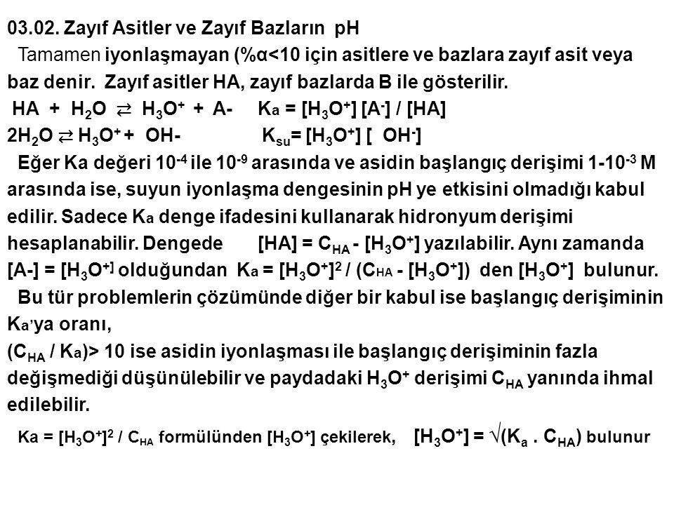 03.02. Zayıf Asitler ve Zayıf Bazların pH Tamamen iyonlaşmayan (%α<10 için asitlere ve bazlara zayıf asit veya baz denir. Zayıf asitler HA, zayıf bazl
