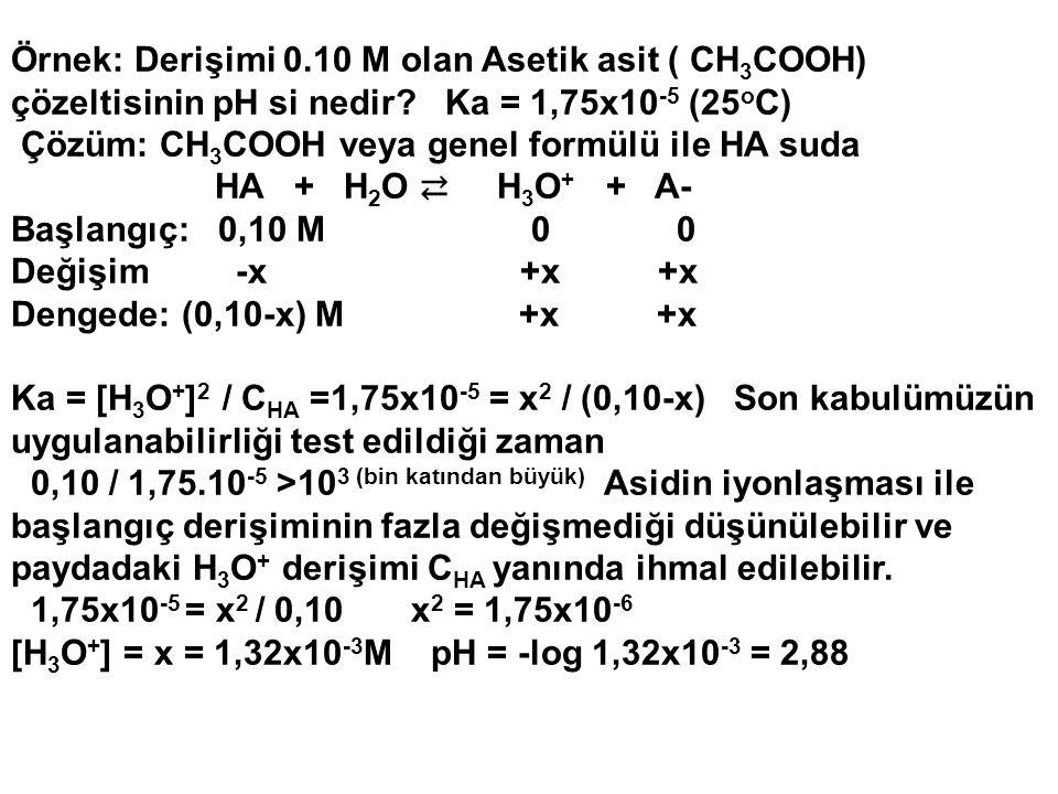 Örnek: Derişimi 0.10 M olan Asetik asit ( CH 3 COOH) çözeltisinin pH si nedir? Ka = 1,75x10 -5 (25 o C) Çözüm: CH 3 COOH veya genel formülü ile HA sud