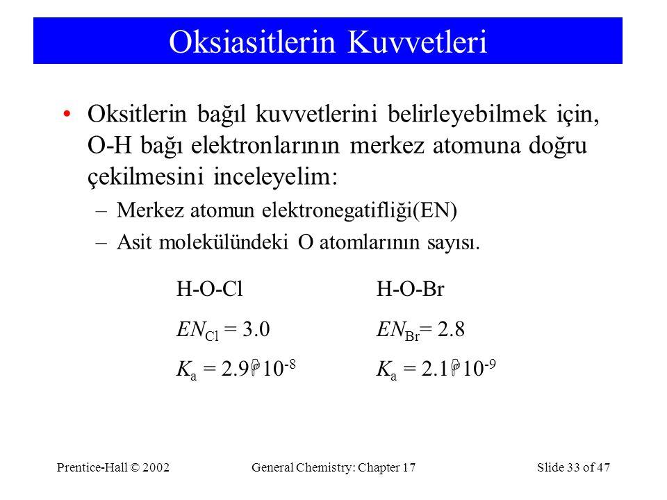 Prentice-Hall © 2002General Chemistry: Chapter 17Slide 33 of 47 Oksiasitlerin Kuvvetleri Oksitlerin bağıl kuvvetlerini belirleyebilmek için, O-H bağı