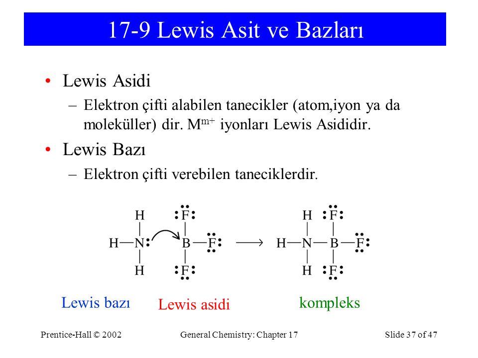 Prentice-Hall © 2002General Chemistry: Chapter 17Slide 37 of 47 17-9 Lewis Asit ve Bazları Lewis Asidi –Elektron çifti alabilen tanecikler (atom,iyon