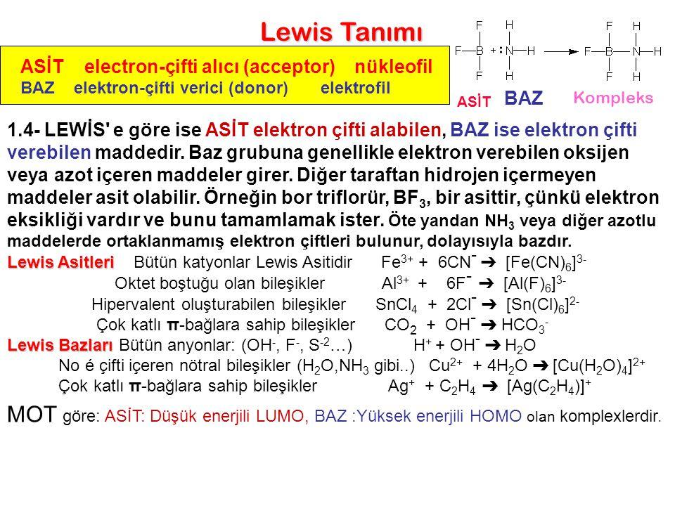 BAZ ASİT ASİT electron-çifti alıcı (acceptor) nükleofil BAZ elektron-çifti verici (donor) elektrofil Lewis Tanımı Kompleks 1.4- LEWİS' e göre ise ASİT