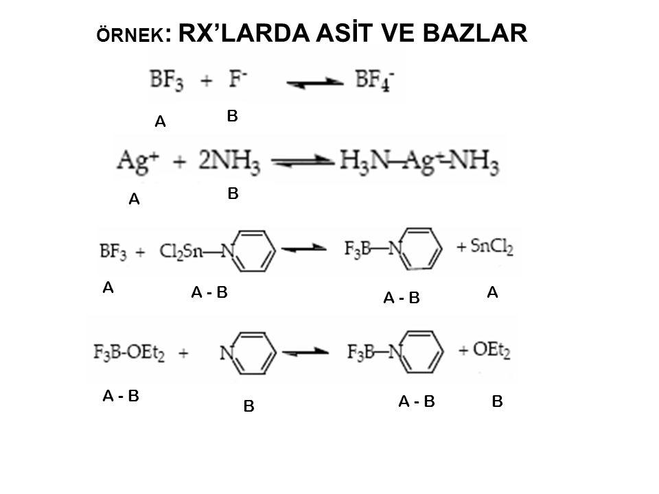 ÖRNEK : RX'LARDA ASİT VE BAZLAR A B A B A A - B B A B